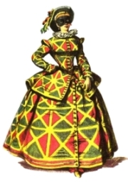 [Image of woman with Harlequin costume]